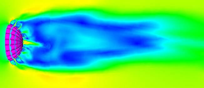 Detail of speed in flowfield local to the drogue parachute..